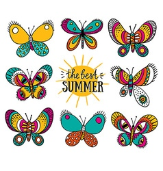 Summer card with butterflies and stylish lettering vector image