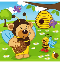 Teddy bear dressed as bee goes for honey vector