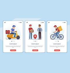 template for mobile app page with delivery vector image