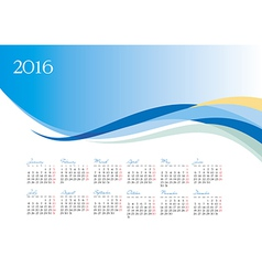Template of 2016 calendar on blue background vector image