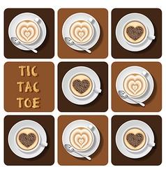 Tic-tac-toe cappuccino and latte vector