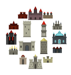 Towers and castles icons set in flat style vector