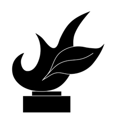 Trophy sign with flame icon black simple style vector image