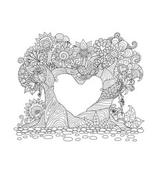 Two trees bend over in hearted shape vector