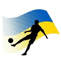 Ukraine soccer player against national flag vector