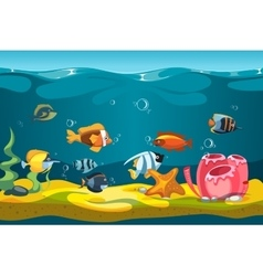 Underwater sea with fishes and rocks vector image