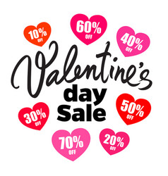 valentines day sale poster handwritten lettering vector image