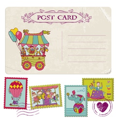 Vintage Party Postcard and Circus Postage Stamps vector