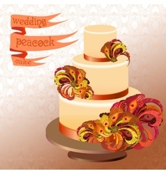Wedding cake with peacock feathers Golden yellow vector