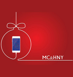 white phone charging in style christmas ball cell vector image