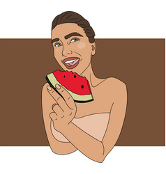 woman eating watermelon vector image
