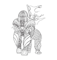 Zentangle patterned gorilla standing vector image