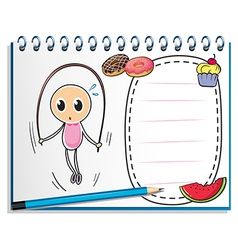 A notebook with a drawing of a girl playing with vector image vector image