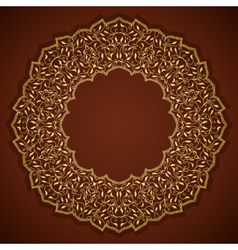 Lace gold round ornament with leaves vector image