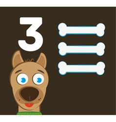 Number 3 - Dog with three bones vector image vector image