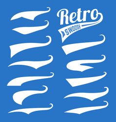 retro swoosh template set on blue vector image vector image
