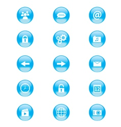 Set of blue and white circular buttons vector image vector image