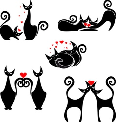 set of stylized figures of cats vector image