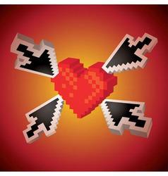 Arrows showing heart vector image