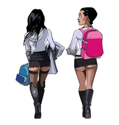 cartoon two sexy girls student in a very short vector image vector image