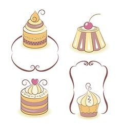 Cute cupcakes set vector image