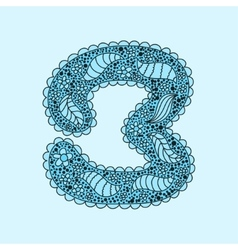 Cute number 3 Floral monogram 3 vector image