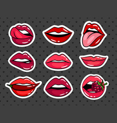 female lips stickers set vector image vector image