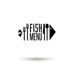fish with cutlery sign vector image