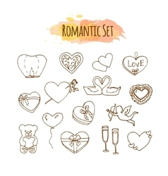 Romantic hand drawn wedding set vector