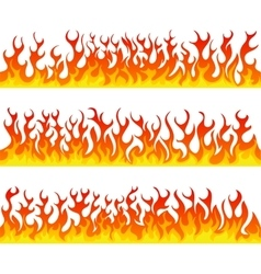Seamless fire flames line set vector image
