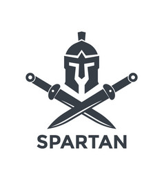 spartan logo template with helmet and swords vector image vector image