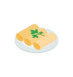 Spring rolls icon isometric 3d style vector image