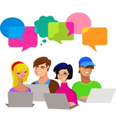 young people with speech bubbles and computers vector image vector image