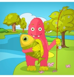 Funny Monster Fisherman vector image vector image