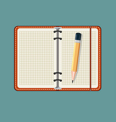 Notebook and pencil isolated on a background vector