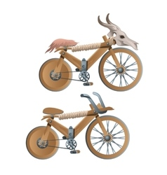 Two wooden retro bicycles decor animal skull vector image