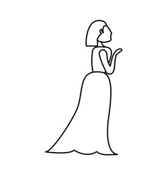 woman bride wedding outline vector image vector image
