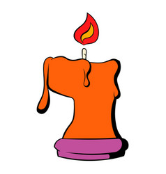 Burning candle icon cartoon vector