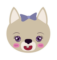 Colorful caricature face of female cat animal cute vector