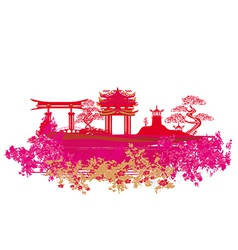 Decorative Chinese landscape card vector image vector image