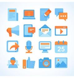 Flat icon set of blogging symbols vector image