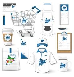 Set of corporate identity uniform flyer cart vector image