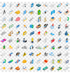 100 concern icons set isometric 3d style vector image