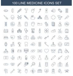 100 medicine icons vector