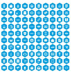 100 sale icons set blue vector