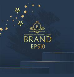 3d elegant podium with gold stars realistic vector