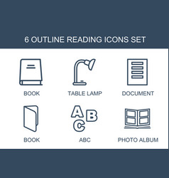 6 reading icons vector