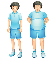 A thin and a fat boy in a blue gym uniform vector image
