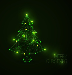 Abstract christmas tree made from light lines and vector image