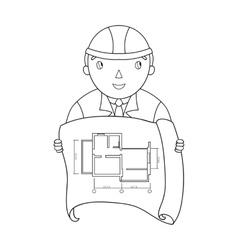 Architectz with technical drawing icon in outline vector image